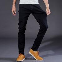 秋冬季厚款纯黑色牛仔裤男修身直筒高弹力加肥加大码男装黑裤子 黑色8939