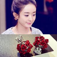 韩国红色网红花朵球球双面佩戴气质时尚玫瑰钻耳坠耳饰耳环耳钉女