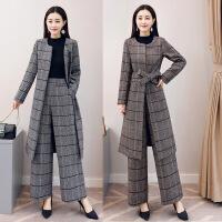 长款毛呢大衣女冬装2018新款韩版收腰格子大衣两件套阔腿裤女套装