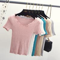 夏季木耳边V领弹力修身针织打底衫韩版女士T恤衫