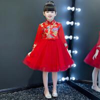 女童蓬蓬裙花童中国风演出服 儿童礼服旗袍裙公主裙中式表演长袖秋 红 色