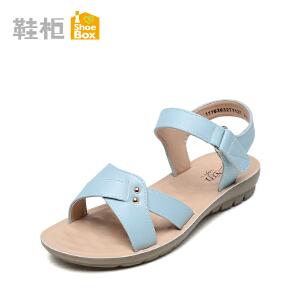 达芙妮集团 鞋柜2016夏季新休闲平底凉鞋一字扣带简约女鞋1116303271