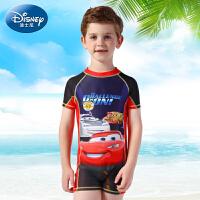 迪士尼儿童泳衣麦昆汽车总动员男童连体泳衣 学生中大童防晒泳装
