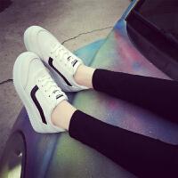 2017夏季新款百搭透气帆布鞋女韩版小白鞋学生运动鞋厚底板鞋网鞋 白色(帆布) 偏小半码