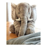 卡通可爱大象抱枕被子两用汽车多功能靠枕靠垫午睡毯子折叠空调被 灰大象