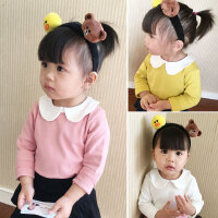 春秋装百搭韩版女童长袖打底衫婴儿童宝宝娃娃领t恤上衣纯棉弹力