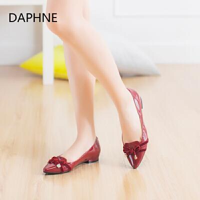 Daphne/达芙妮优雅蝴蝶结单鞋 经典舒适尖头平跟单鞋年末清仓,售罄不补货!