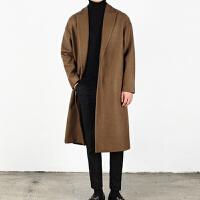 纯色羊绒大衣男中长款青年秋冬季韩版修身单排扣呢子外套加厚潮流
