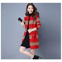 秋冬新款韩版针织羊绒开衫中长款加大码女装宽松外套毛衣女打底衫