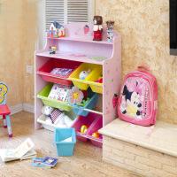 现货彩色 加大加宽草莓儿童儿童收纳储物玩具书架 蓝色粉色两款