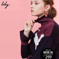 Lily2017冬新款女装欧美时髦撞色高领解构式直筒毛衣117429B8907