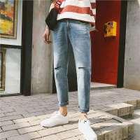 夏季新款牛仔裤男士百搭裤子韩版破洞修身小脚水洗九分裤