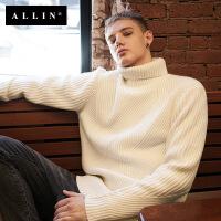 allin秋冬季ulzzang男士白色高领毛衣韩版加厚套头线衣情侣针织衫