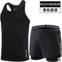 运动健身服套装短裤男户外新品肌肉马拉松跑步背心装备田径训练三分裤