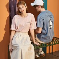[1件2.5折价27.8元]唐狮情侣装夏装新款短袖T恤男后背图案半袖女打底上衣潮