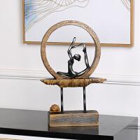 古典创意瑜伽莲花树脂摆件家居工艺品现代客厅家饰装饰品 304-ZN