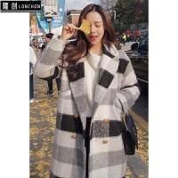 2017秋冬新款韩版廓形毛呢女中长款加厚黑白格子呢子大衣外套 黑白格子 X