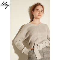 【9.27 Lily超级品牌日 全场2件4折】Lily2018春新款女装时尚下摆腰带修身灰色针织衫118130B876