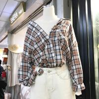 韩国ulzzang2018春装新款时尚宽松POLO领撞色格子衬衫女长袖上衣