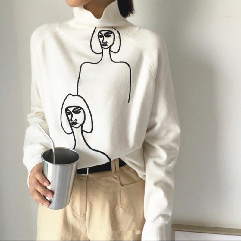高领白色毛衣女2018秋冬新款女装卡通美女绣花针织打底衫韩版外套