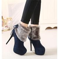 韩版秋冬新款性感毛毛雪地靴保暖靴14CM超高跟女靴防水台细跟短靴