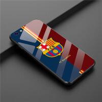 苹果X巴萨手机壳iPhone7plus钢化玻璃套巴塞罗那8P足球队6SP潮男 6/6S 蓝巴萨玻璃壳
