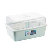 茶花碗筷收纳盒放碗沥水架厨房收纳箱带盖家用置物架塑料碗柜 1817 绿色【可立碟/带筷筒/方形格子】