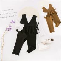 女童套装2018新款春装韩版潮喇叭袖打底衫+外套中小童裤子两件套