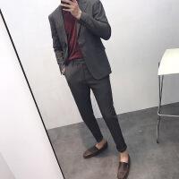 西服套装韩国伴郎潮英伦风男士修身韩版小西装套装两件套