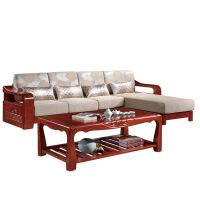 实木沙发 客厅家具转角贵妃木布沙发组合中式橡胶木茶几沙发套装 3170*1860*860mm(含长茶几)