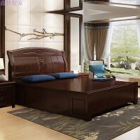 中式实木床1.8米 1.5m 现代气压高箱储物抽屉床白色单人双人婚床
