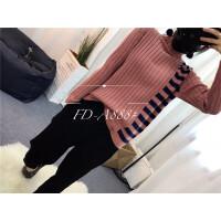 D2秋冬新半高领套头 毛衣女中长款韩版打底针织衫加厚女装学生0.5