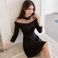 18流行女装春夏新款版连衣裙百搭修身修身时尚长袖打底裙