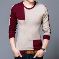 2017青年新款时尚针织衫条纹圆领套头加厚毛衣保暖羊绒衫