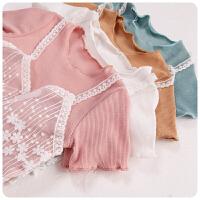 夏装花朵蕾丝假两件螺纹上衣 女童韩版T恤打底衫 174295