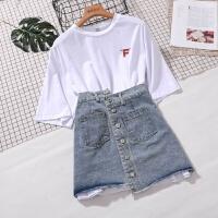 B817字母中长款t恤不规则牛仔半身裙套装女夏时髦两件套省心搭配