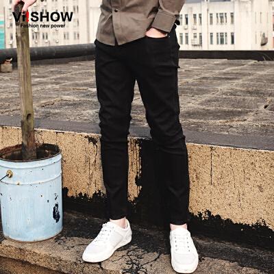 viishow春装新款牛仔长裤 欧美潮流黑色牛仔裤男 修身直筒裤满199减20 满299减30 满499减60 全场包邮