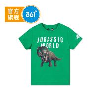 【1.17大牌日3折价:41.7】361度 男童短袖T恤童装儿童针织衫2018年夏季新款 侏罗纪款 N51822206