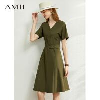 Amii�O�名媛�p奢遮肚V�I�B衣裙2020夏季新款收腰�@瘦白色裙子女