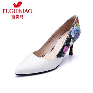 富贵鸟 春季新品单鞋 时尚头层羊皮猪皮内里印花酒杯跟女高跟鞋