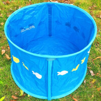 可折叠大号宝宝旅行洗澡桶 便携儿童浴盆婴幼儿沐浴桶泡澡池 可坐 天蓝小鱼印花款
