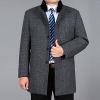 新款中老年风衣男秋冬大衣外套立领中年爸爸装加绒中长款休闲风衣 浅格 1381加绒
