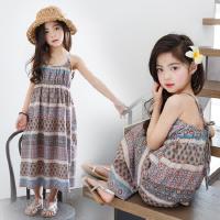 韩版女童连衣裙2018夏装新款亲子装母女吊带裙中大童度假沙滩长裙