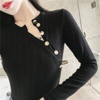 时尚个性感镂空斜纽扣紧身打底衫短款长袖t恤修身上衣女秋冬新款