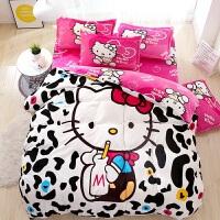 卡通凯蒂猫法莱绒床上四件套kt珊瑚绒法兰绒儿童床单被套三件套女 乳白色 牛奶kt 法莱绒