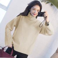 高领毛衣女套头宽松纯色打底衫女长袖秋冬韩版时尚开叉针织衫
