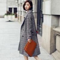2017秋季韩版格子毛呢外套冬修身显瘦长款加厚茧型千鸟格呢子大衣