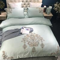 家纺2017秋冬新款棉被子欧式60支贡缎四件套 美式刺绣绿色六件套1.8m床上用品