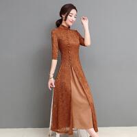 长款蕾丝旗袍裙春秋新款端庄大气少女中国风改良日常旗袍