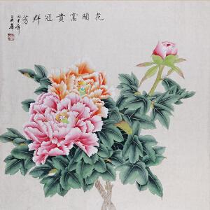 中国工笔画学会会员 著名工笔画家顾英华老师作品――花开富贵冠群芳